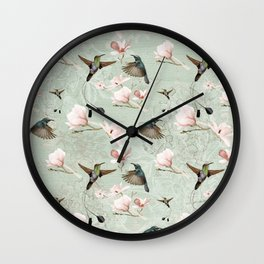 Vintage Watercolor hummingbird and Magnolia Flowers on mint Background Wall Clock
