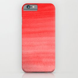 Bold Fire Engine Red - Light Pink Watercolor Horizontal Brush Gradient Stripe Pattern iPhone Case