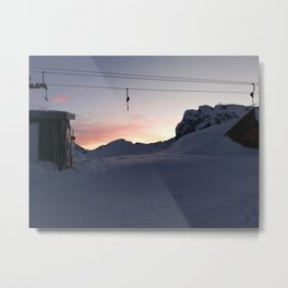 New day about to start at mountains Metal Print