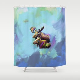 Colorful Moose Shower Curtain