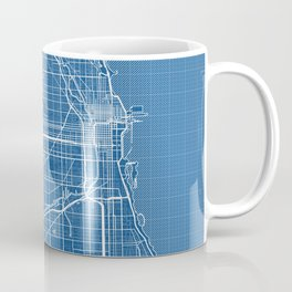 Chicago City Map of the United States - Blueprint Coffee Mug
