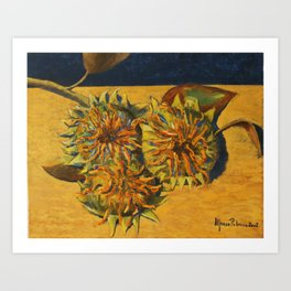 Sunflowers print of a 16x20 inches oil on canvas painting of Italian painter Alfonso Palma Art Print