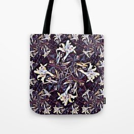 White Lilies in the Purple Garden Tote Bag