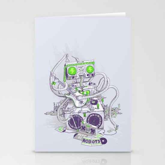Hippy robot Stationery Cards