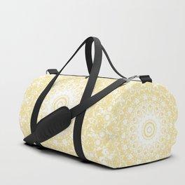 White Lace Mandala on Sunshine Yellow Background Duffle Bag