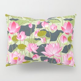 pond of pink lotuses Pillow Sham