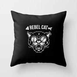 Rebel cat Throw Pillow