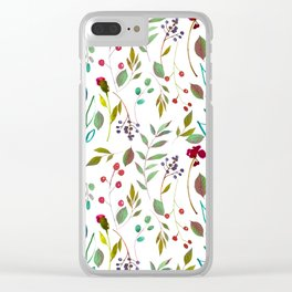 autumn winter berries watercolor pattern Clear iPhone Case