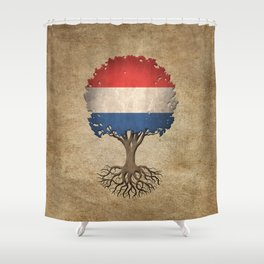 Vintage Tree of Life with Flag of The Netherlands Shower Curtain