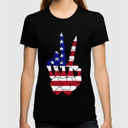 American Flag Skeleton Peace Sign T-shirt