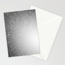 Galaxy Stars Ombre : Black Slate Gray Stationery Cards