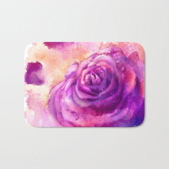 Watercolor rose painting Bath Mat