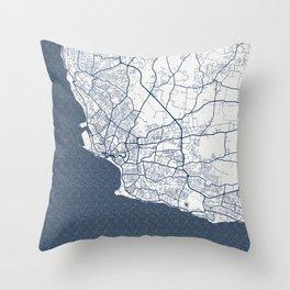 Bridgetown City Map of Barbados - Coastal Throw Pillow