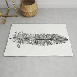 Black and White Feather Zen Rug