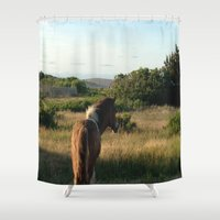 pony Shower Curtains featuring pony by catrinaevans