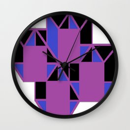 Purple Squares Wall Clock