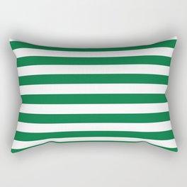 Stripes (Dark Green & White Pattern) Rectangular Pillow