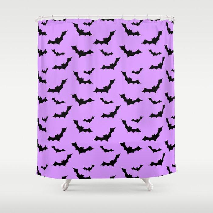 black and purple shower curtain. Black Bat Pattern On Purple Shower Curtain By Thepastelwitch  Society6