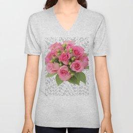 Pink Rose Silver Mandala Unisex V-Neck