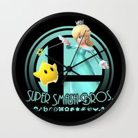 super smash bros Wall Clocks featuring Rosalina - Super Smash Bros. by Donkey Inferno