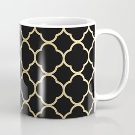 Elegant geometrical black faux gold quatrefoil Coffee Mug