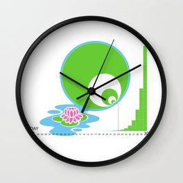 Exponential Growth Lily Pond - version 2 Wall Clock