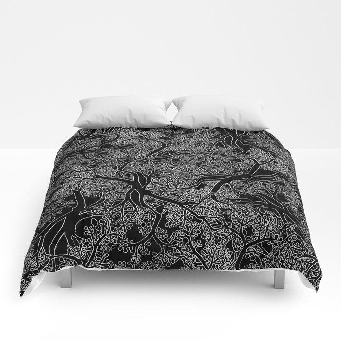 Tree Repeat Black Comforters