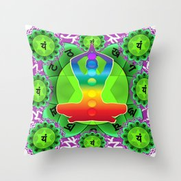 SANSKRIT GREEN HEART CHANTING MANTRA ART Throw Pillow