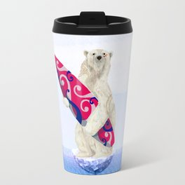 Polar bear & Surf (tribal pink) Travel Mug