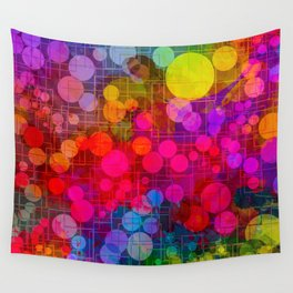 Rainbow Bubbles Abstract Design Wall Tapestry