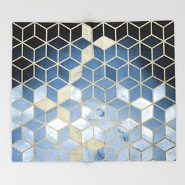 Shades Of Blue Cubes Pattern Throw Blanket