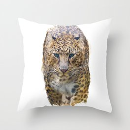 Watercolor Portrait of Leopard  on white background Throw Pillow
