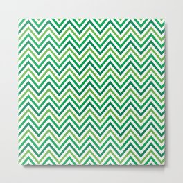 Saint Patricks Day Green Chevron Pattern Metal Print