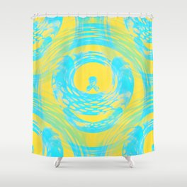 Abstract Aqua and Yellow Shower Curtain