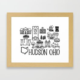 Hudson Ohio Map Framed Art Print
