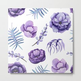 Purple and white watercolors flowers Metal Print