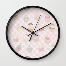 Cupcakes pattern Wall Clock