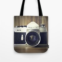 old school Tote Bags featuring Old School by Jessica Gullasch