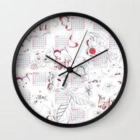 calendar Wall Clocks featuring Calendar mess by Dreamy Me