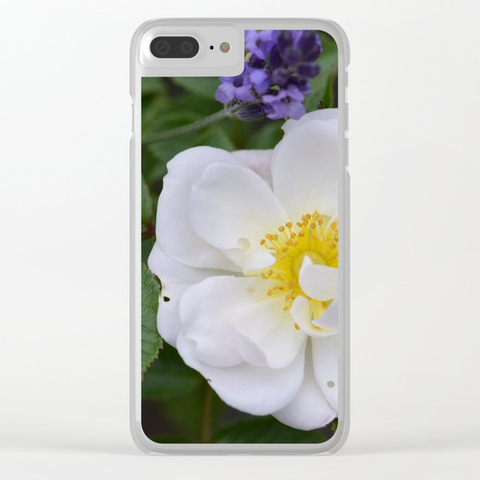 White Dog Rose and Lavender Clear iPhone Case