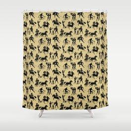 Greek Figures // Tan Shower Curtain