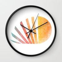 ed sheeran Wall Clocks featuring Raising sun (rainbow-ed) by Picomodi