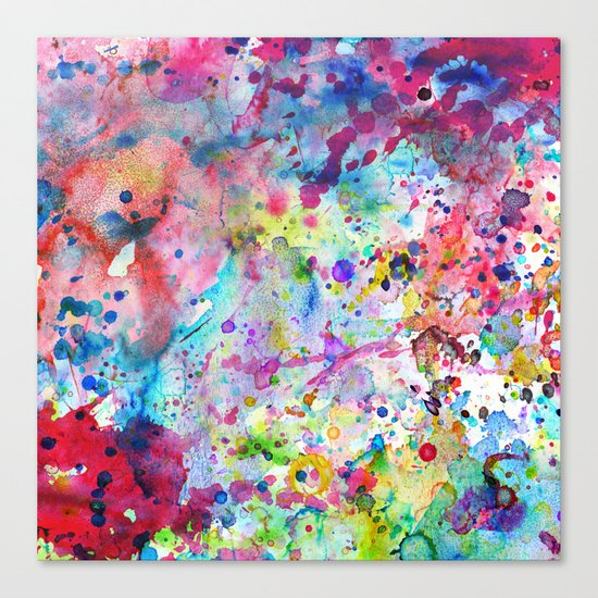 Abstract Bright Watercolor Paint Splatters Pattern Canvas Print