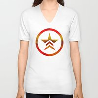 mass effect V-neck T-shirts featuring Mass Effect Renegade by foreverwars