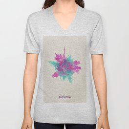 Moscow, Russia Colorful Skyround / Skyline Watercolor Painting Unisex V-Neck