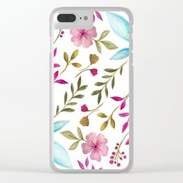 Watercolor Botanical Floral Leaves by Ms. Parasol Clear iPhone Case