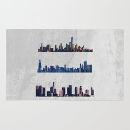 Chicago, New York City, And Los Angeles City Skylines Rug