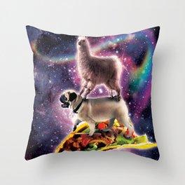 Rainbow Space Llama On Pug Riding Taco Throw Pillow