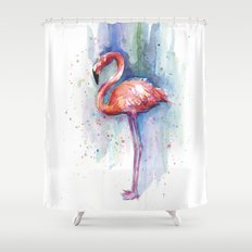 Pink Flamingo Watercolor Tropical Animals Birds Shower Curtain
