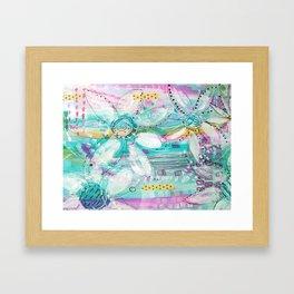 mixed media flowers Framed Art Print